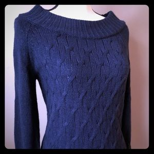 Navy New York and Company Cable Knit Sweater